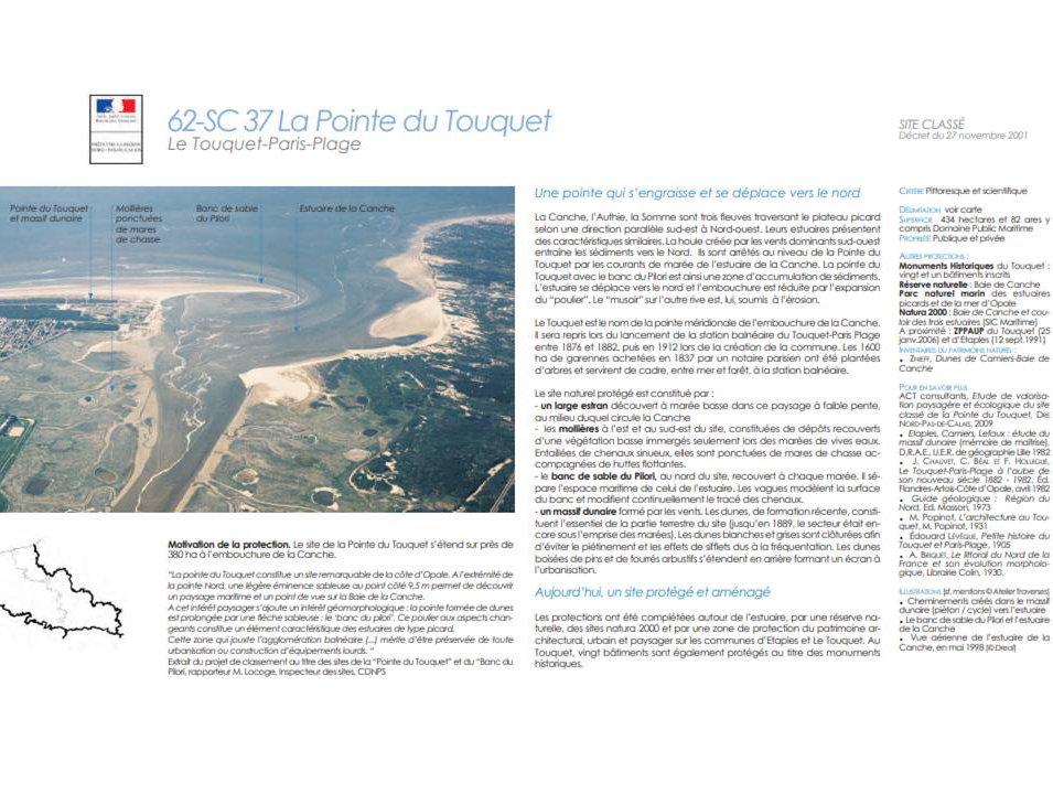 information sur les zones protégées du Touquet